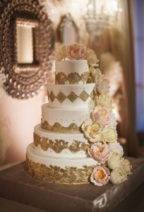Gold Wedding Cake by Elizabeth Anne Designs