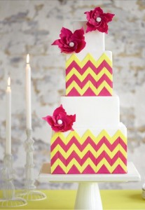 brightly colured wedding cake