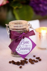 plum coffee wedding favour