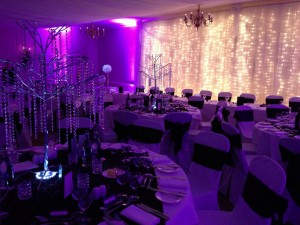 purple venue uplighting