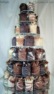 mini choc cake tower